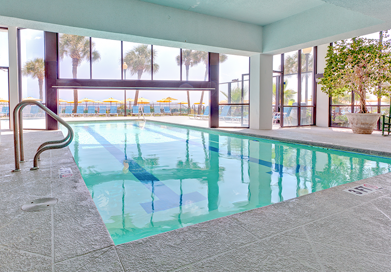 Our indoor pools allow our guests to take a dip anytime. Whether the weather isn't as nice as you would like or you've had too much sun from the day before, our indoor pools are a great option to still get some pool time fun in.