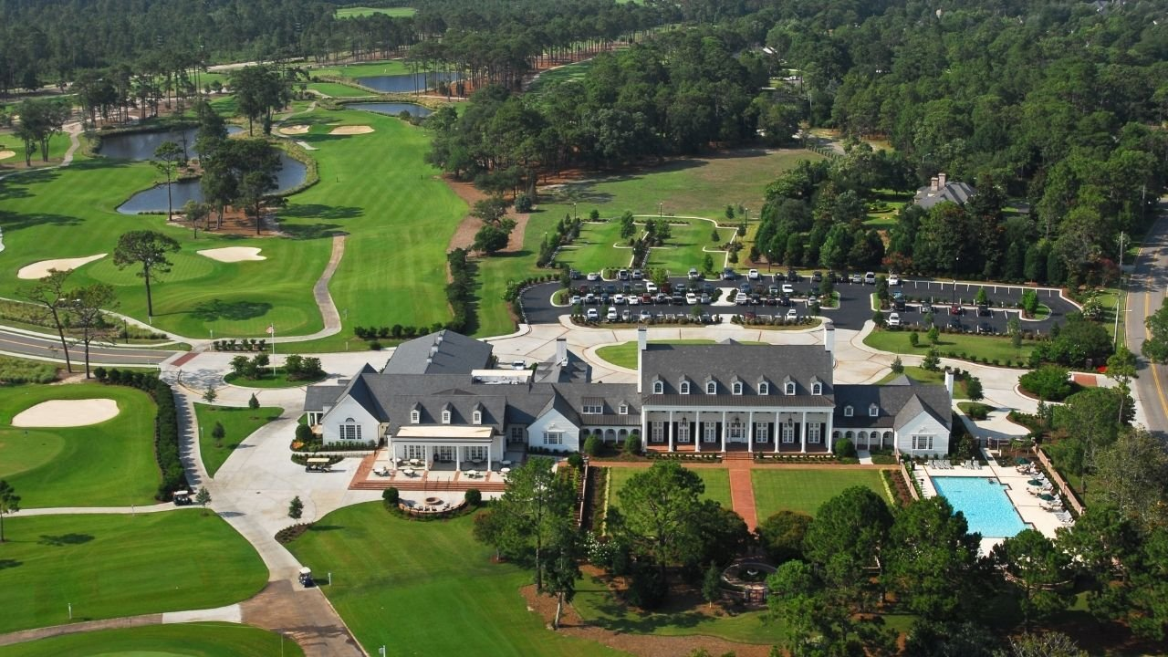 Drone of clubhouse at Pine Lakes Country Club